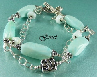Blue Opal Bracelet   Azure Blue  (Coral Reef Collection)  by Gonet Jewelry Design
