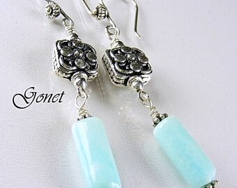 Blue Opal Earrings   Azure Blue  (Coral Reef Collection)    by Gonet Jewelry Design