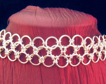 Chainmaille Sterling Silver Oriental 6 in 1 Choker Necklace