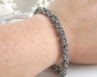 Chainmaille Byzantine Antique Sterling Silver Bracelet Large