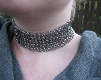 Chainmaille Stainless Steel Lace-Up Choker