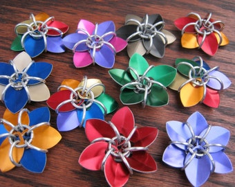 Chainmaille Aluminum Scale Flower - Small Geranium, Pick Your Colors