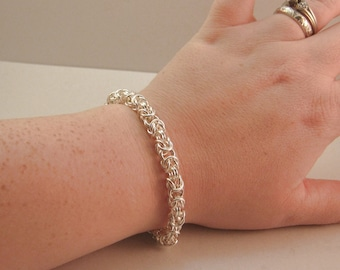 Chainmaille Byzantine Sterling Silver Bracelet Large