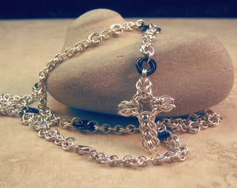 Chainmaille Cross Rosary Sterling Silver Rosettes