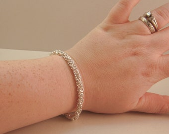 Chainmaille Byzantine Sterling Silver Bracelet