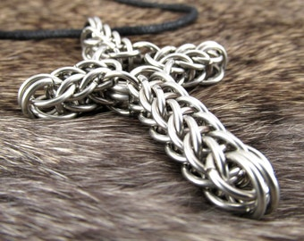 Chainmaille Cross Stainless Steel Necklace