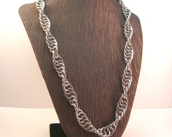 Chainmaille Spiral Chain Necklace Stainless Steel DNA Chainmail Necklace