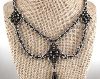 Chainmaille Combo Necklace, Byzantine with Oriental Centerpieces, Stainless Steel and Black Enameled Copper