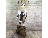 vtg white buffalo large Kachina doll by Jemez artist Paja on driftwood 24 39 39 tall
