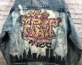 Vtg Jordache No Exit 80 s acid wash denim NY graffiti art sz s