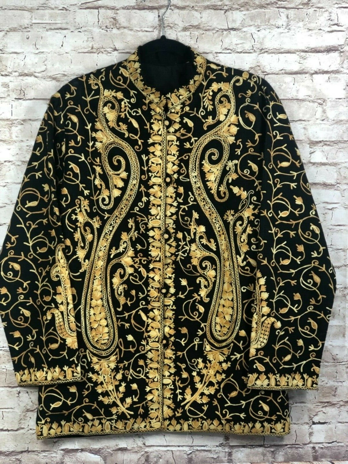Art To Wear Womens Sz L Embroidered Moc Neck Light Weight Wool Jacket