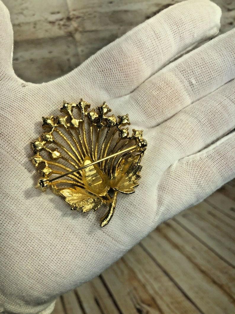 vtg signed LISTNER faux pearl gold tone spray pin brooch