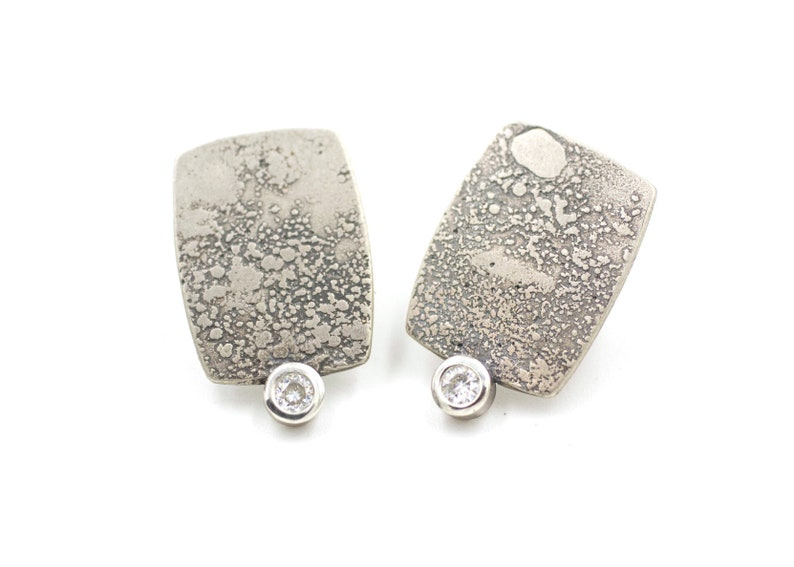 00591df43bc51 Sterling Silver Lichen Texture Rectangle Stud Earrings with Moissanite  Faceted Round Sparkle Stones