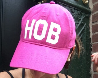 HOB hat city letters adjustable baseball cap hat with city airport call letters - shown in hot pink with white glitter
