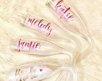 Chambong Champagne bong with personalized names -  bachelorette party, bride, birthday party, girls trip