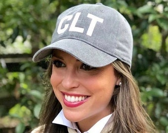 9ecfd619294 Airport hat - baseball style in custom city letters adjustable with city  airport call letters CLT charlotte