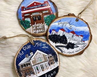 """Hand-painted custom Home or """"Where it all began"""" scenic keepsake ornaments on wood slice, enagagement, first date"""