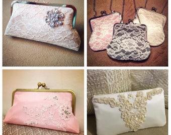 CUSTOM, REPURPOSED bridal wedding clutch purse - reuse old dress/keepsake to go with YOUR dress (heirloom, family, mom, grandma)