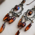 The Boudoir. Long delicate chandelier earrings in Madeira Topaz brown, to wear on special, romantic occasions.