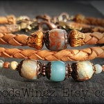 African Opal beads three 3 stacking bracelet set natural leather, copper, from the Elysium line of handmade one of a kind unisex jewelry