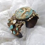 Summer Sand and Sea - The Mysterious Mermaid - Vintage Brass Crystal wide Cuff Spectacular Bracelet- One size fits all- beach colors