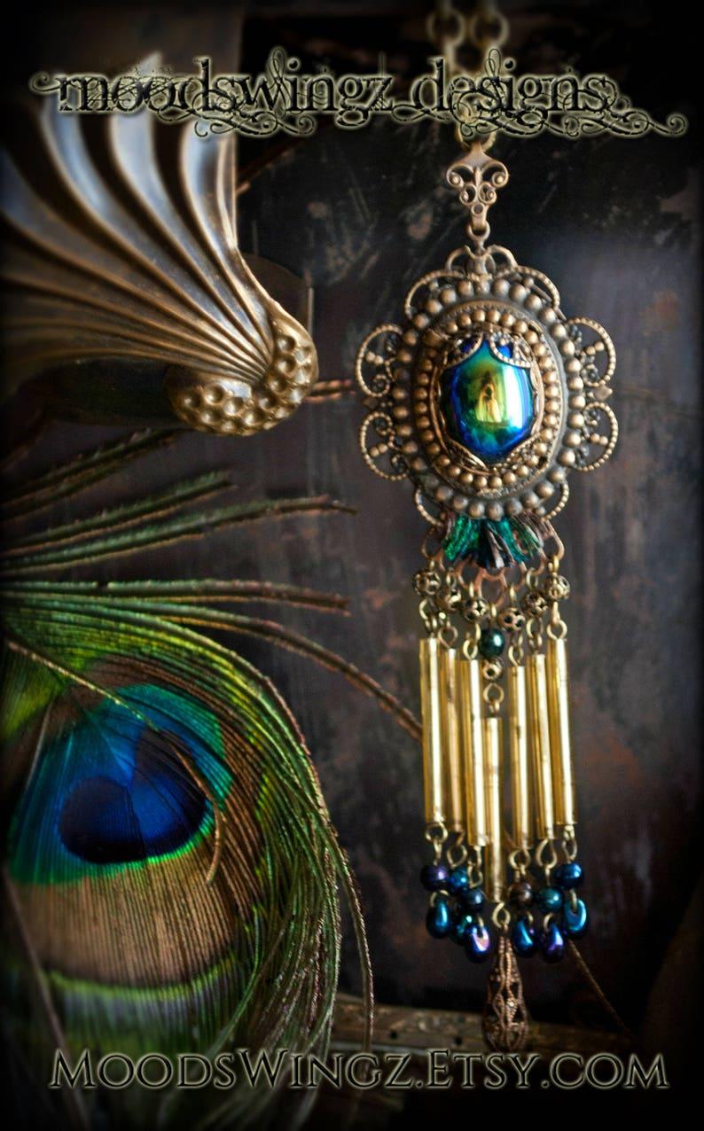 1d67c5e54 Goddess Hera Glorious Peacock glass fringe long necklace   Etsy