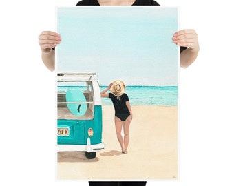 My kombi, the sea and me. - Beach Art - Large prints