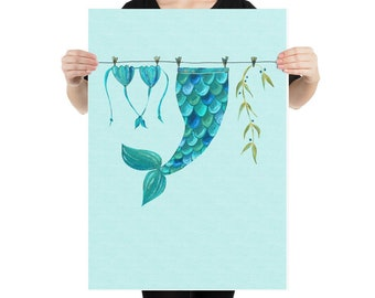 Out of Office - Secret Mermaid Life Art Print - Large sizes