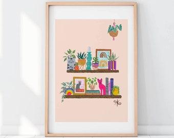 Cat Lady Shelfie - Large print A4, A3 up to 70cm-100cm!