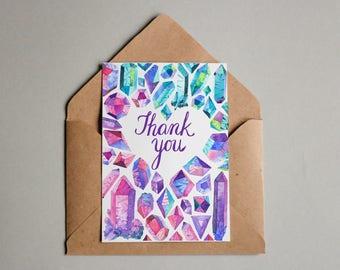 Colourful crystal Gemstone card - Thank You - A6 thank you card