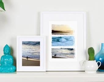 Sunset Surf Beach triptych print - A4 - Western Australia - for your beach house