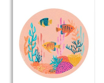 Coral Garden - Peachy Pink Underwater illustration with fish