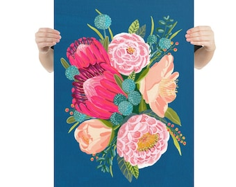 King Protea Bouquet - Ultra Large Giclee art print - Shabby chic bouquet