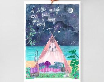 Magical Beach Camping watercolour art print  - A Little Magic Can Take You a Long - Roald Dahl Quote