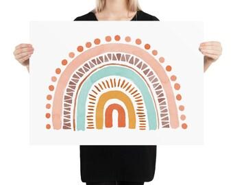 Boho Rainbow - Watercolour art print for children's room and nursery