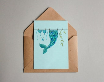 """Mermaid Life - A6 greeting card - art print """"Out of Office"""""""