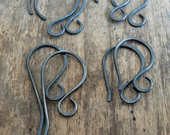 Sample Pack 4 pairs of my Sterling Silver Earwires - Handmade. Handforged. Heavily Oxidized