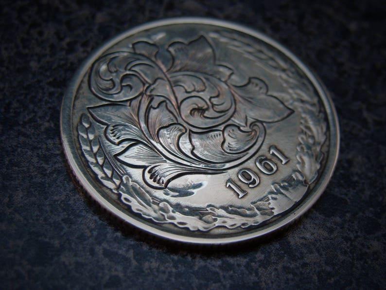 Hand Engraved Coin Hobo Nickel Love Token Style Scrollwork On A 5 Kopek  Soviet Coin