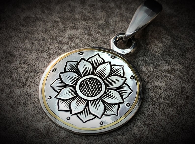 Hand Engraved Art Nouveau Inspired Sterling Silver and 24k Gold  Rosette Pendant