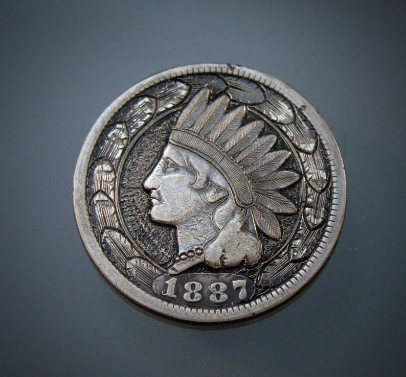 Hand Engraved Coin Hobo Nickel Love Token Style Scrollwork On A Bronze  Indian Head Cent