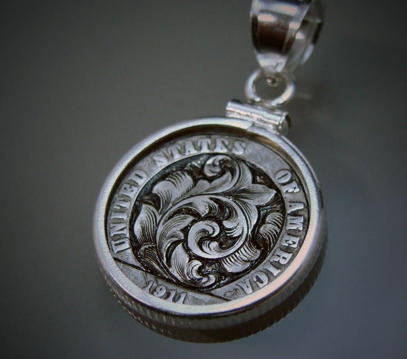 Hand Engraved Hobo Nickel Style Art Nouveau Silver Barber Dime Pendant Love  Token