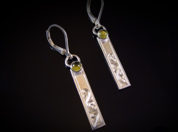 925 Silver Peridot Art Nouveau Hanging Earrings with Hand-framed Markaites