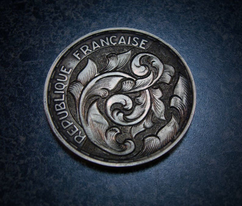 Hand Engraved Coin Hobo Nickel Love Token Style Scrollwork On A French 50m  Franc Coin