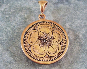 Hand Engraved Art Nouveau Inspired Copper Flower Pendant With Faceted Gemstone