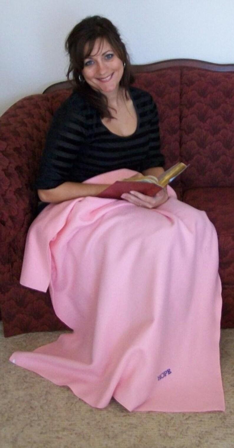 Senior Gift Cancer Survivor Gift Pink Hope Embroidered Blanket Prayer Lap Blanket Wheelchair Blanket Personalized Blanket Throw