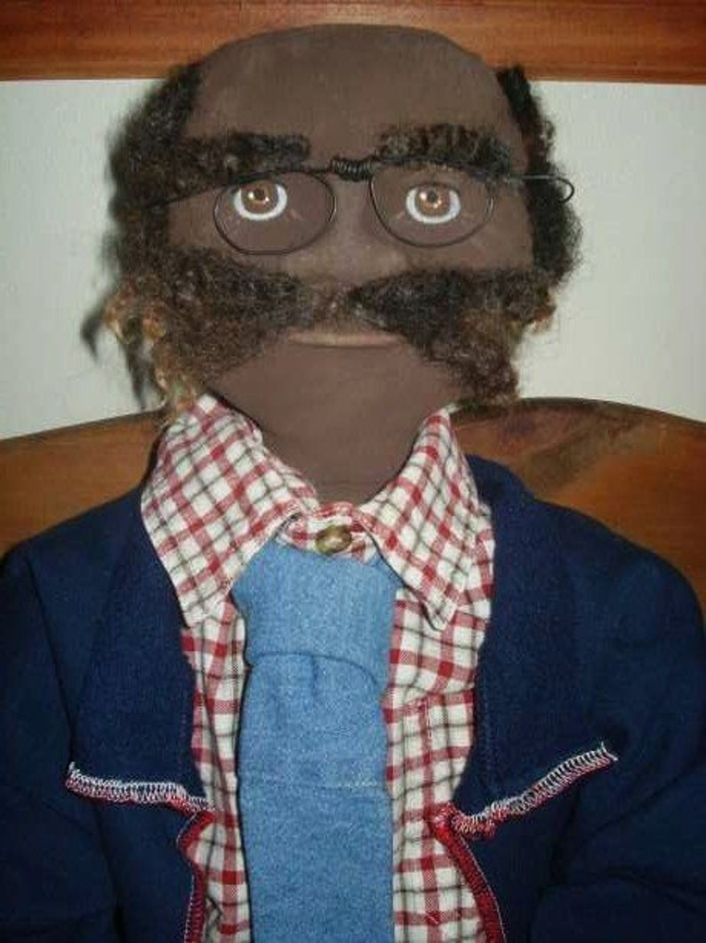 Folk Art Doll Pattern Black Grandpa Doll PATTERN 40 inch ~ Has Tie ~ Glasses ~ Sculpted Face Feet and Individual Fingers