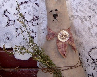 Primitive RABBIT Sitter or Tuck -Instant Download Pattern- PRIM BUNNY Quick and Easy to Make