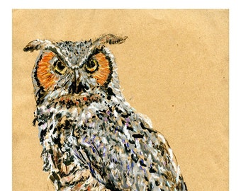 5x7 print Great Horned Owl - Bird art mixed media drawing