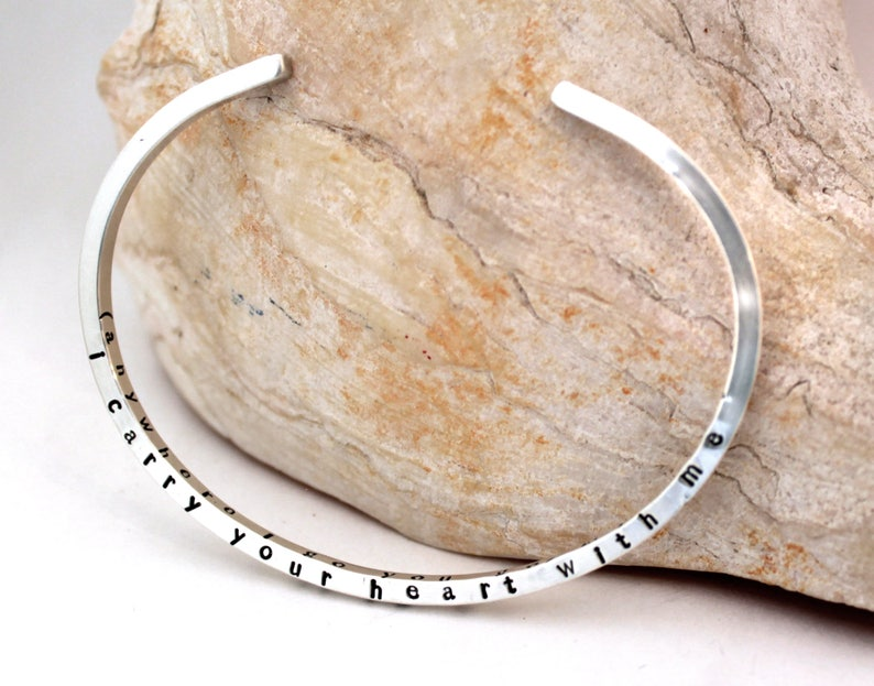 ee cummings I Carry Your Heart 4-sided Skinny Cuff Bracelet Silver Cuff Bracelet Poetry Bracelet I Carry Your Heart Bracelet