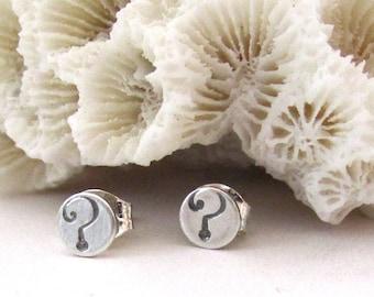 QUESTION MARK EARRINGS  - Tiny Stud Earrings - Tiny Sterling Silver Punctuation Post Earrings - Stud Earrings - Free Ship - Simple Earrings